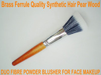 Wholesale Duo Fibre Powder Blush Brush Bronzing Powder Flat Hair Brush for face blusher BIG BRASS FERRULE Dia mm