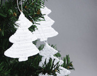 Wholesale White Christmas ornaments Crochet Christmas decorations Hanging Christmas tree set of