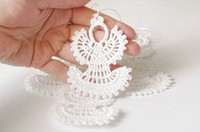 Wholesale Christmas ornaments White crochet angels Christmas tree decorations set of