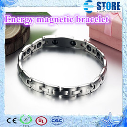 Wholesale Magnetic Bio Energy Bracelets for Lovers L Stainless Steel with Shining Crystal Drill wu
