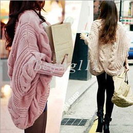 Wholesale Free Size fashion cardigan Sweaters for Women The new Fall and Winter clothes Batwing sleeve Cardigan knitting loose Shawl ladies thick