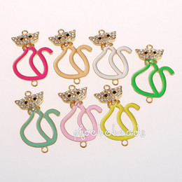 Wholesale Gold Plated Cat Shape Enamel Jewelry Connectors With Crystal OMC N