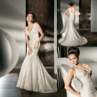 Trumpet/Mermaid Reference Images V-Neck 2014 Demetrios Wedding Dresses Mermaid V Neck Beaded Sequins Fit And Flare Court Train Bridal Dresses dhyz 04