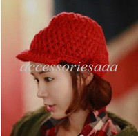 Wholesale christmas R2013 New Arrive Women s Fashion Knitting Wool Hat Equestrian Cap Colors HTZZM