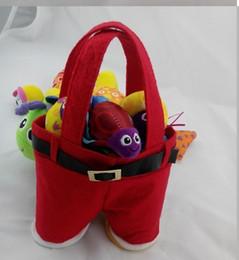 Wholesale Santa pants style Christmas candy gift bag Xmas Bag Gift candy bags Favor Holders Wedding Favors