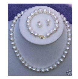New Fine Pearl Jewelry Natural Real AKOYA 18INCHES 10-11MM white BAROQUE Pearl Necklace Bracelet Earring Set 14K