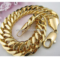 Wholesale Mens jewelry MASSIVE quot k YELLOW GOLD FILLED MEN BRACELET DOUBLE CURB CHAIN MM WIDE Xmas gift