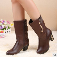 Wholesale New winter really ginned cotton boots with high heels in the fashion leather boots to keep warm and comfortable boots knight leather boots w