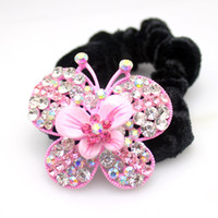 Wholesale Hair AccessoriesProfessional hair ring hair rope diamond crystal butterfly effect head flower headdress new mixed batch of foreign trade web