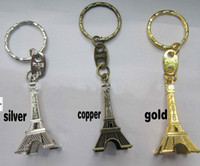 advertising supplies - Romantic Wedding Favors Alloy Retro Eiffel Tower Keychains Advertising Gift Key Ring Supplies Gold Silver Copper