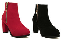 Wholesale Best sell colors metal zipper high heel boots women s waterproof winte snow short boot bride wedding boots size l