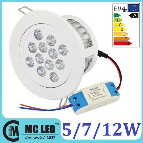 Dimmable 5W 7W 12W Led Spots encastrés 30/60/120 Angle chaud / Natural / Froid P