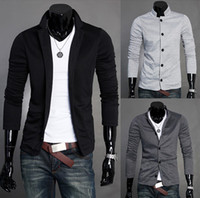 Wholesale Mens Slim Blazers Designs Suits For Men One Button Stand up Collar Korean Jackets For Men Knitted