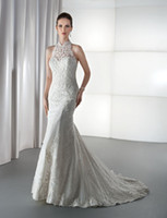 Cheap Trumpet/Mermaid mermaid wedding dress Best Model Pictures High Collar lace bridal dress