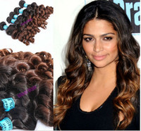 Wholesale Oxette A Ombre Brazilian Virgin Human Hair big spring curl or Two Tone Colors b Ombre Hair Extensions Ombre Weave