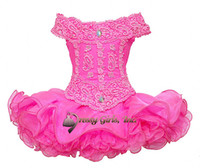 Wholesale Hot pink horizontal collar neck lace sequins ruched ruffles little girls mini short skirt cupcakes infant toddler pageant princess dresses