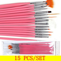 Nail Art Brushes 15 Pcs Plastic Wholesale - [ 15BS-001 ]15 Pcs Nail Art Design acrylic brush UV Gel Set Painting Draw Pen Pink Handle Brush Tips Toolt + Free Shipping