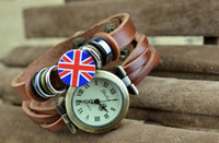 Wholesale New Genuine Leather Strap watchband Vintage Cowboy Watch Dress Wrist Bracelet Watch with Uk Flag Charm and Retro Roma Dial