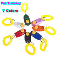 Wholesale 50 color Mini Dog Pet Click Clicker Training Trainer Aid Guide Free Drop Shippingdhl