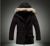 Men men winter parka - New mens fur collar jacket winter hooded parka medium long fleece coats men spring Khaki Black Army green