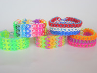 Big Kids Multicolor Silicone Wholesale free shipping Xmas hottest best Rainbow Loom kit silicone rubber bands DIY bracelets Christmas gift 600bands+24S-Clips bag*5=1lot