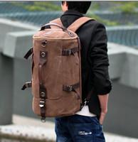 Wholesale 4 colors High quality professional mountaineering backpack bag man bag canvas bag retro Korean drum cylindrical bag shoulder bag JY6