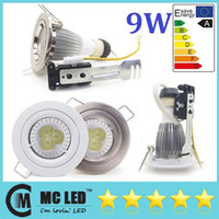 Wholesale 9W Dimmable LED Recessed Downlight Kit Spotlight Ceilling Fixture GU10 Gimble Warm Natural Cool White Led Down Lights V