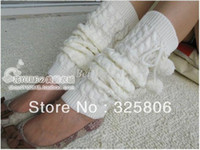 Wholesale christmas RHoliday Sale Women s Ladies Knit Stripe Leg Warmer with pom poms Stocking Socks Legging Finger Gloves CZ B