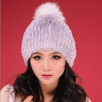 Beanie/Skull Cap beanie hat - christmas R13607 Real rabbit fur hat fox fur pom pom wool Beanie hat cap ladies headgear