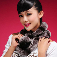 Wholesale christmas RNew Real REX rabbit fur scarf rex rabbit ball wrap cape shawl neck warmer