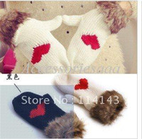 Wholesale christmas RCute Fur Heart Winter Knitted Gloves