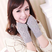 Wholesale christmas RWinter woman wool knitted gloves short paragraph diamond half finger gloves mittens gloves cannabis