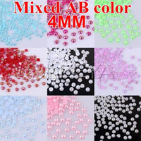 Crystal phone number - 2500pcs bag mm MIXED AB color imitation pearl loose imitation ABS pearl beads for DIY Nail Art Phone