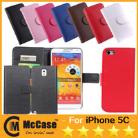 Wholesale High Quality Flip Wallet PU Leather Cover Case Cases With Card Slots For Iphone S S C Galaxy Note S2 S3 S4 Colorful