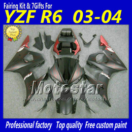 Red flame matt black fairings set for YZF600 03 04 YAMAHA YZF-R6 03 04 YZFR6 2003 2004 ABS fairing body kit YZF R6