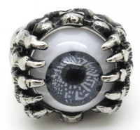 Band Rings biker rings - New Arrival Biker Men Silver Hand Claw Skull Finger Ring Hot Charming Grey Eyeball Ring Jewelry Stainless Steel