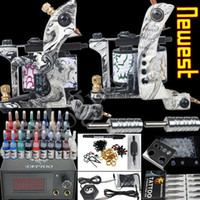 2 Guns Professional Kit 2 tattoo machine Tattoo Kit 2 Machines gun 28 color Inks Power supply needles set equipment