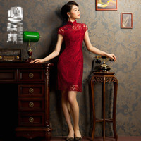 Wholesale 2013 sexy and hot Women slim Chinese cheongsam lace mosaic mini skirt no slits daily wear qipao dress zentai sizes