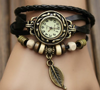 Wholesale High Quality Women Genuine Leather Vintage Watch Leaf Pendant bracelet Wristwatches For Xmas Gift jewelry