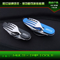Wholesale Portable outdoor camping cutlery knife and fork spoon fork spoon split folding multi tool travel and equipment