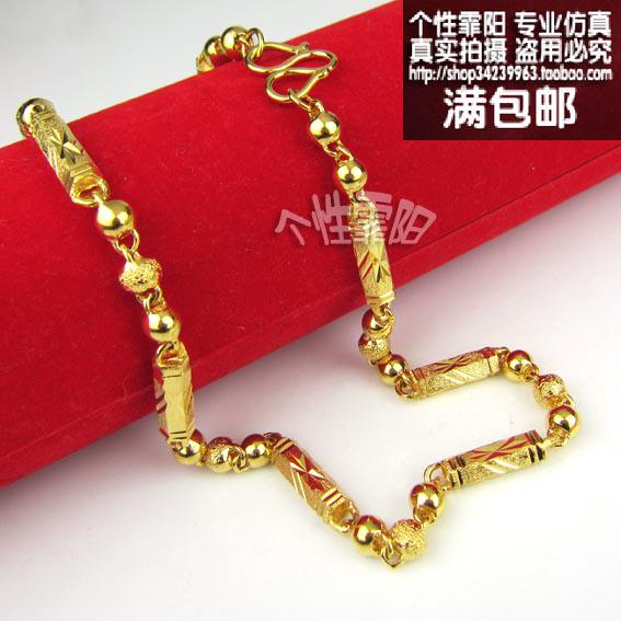 Persistent high simulation gold necklace 24k gold plated for Does gold plated jewelry fade