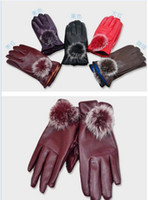 Wholesale Gloves Fashion Women Lady Rabbit Fur PU Leather Gloves Driving Winter Warm cycling Sports Gloves Five Fingers Gloves colors Christmas Gift