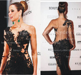 Wholesale 2014 Hot sale Black sexy one shoulder floor length celebrity dresses one long sleeve lace see through tulle back evening prom gowns BO3172