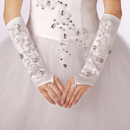 Wholesale 2014 New Elegant Lace Sequin Beaded Flower Beautiful Women Long Wedding Bridal Gloves Fingerless GLO