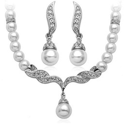 Wholesale Silver Tone White Pearl and Rhinestone Crystal Diamante Wedding Bridal Necklace and Earrings Bridesmaid Jewelry Set