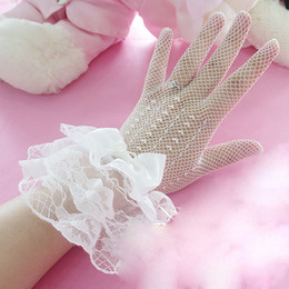 Wholesale Mix White Ivory Black Full Finger Short Lace Bow Girls Bridal Women Gloves Mittens Wedding Bridal Accessories