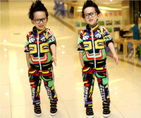 Spring / Autumn american indian outfits - New Fashion Boy girl Outfits Kids Piece Suits Multicolor Indian Printed Coats Geometric Figure Coat Pants Children Sets EMS2251