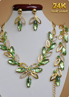 Earrings & Necklace big emeralds - By DHL K Gold Plated Necklace Bracelet Earrings African Jewelry Set Bridal Wedding Accessories Big Green Crystal