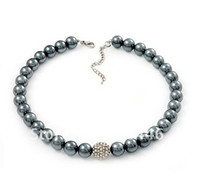 Wholesale Grey Faux Pearl and Rhinetone Crystal Disco Ball Beaded Necklace for Women