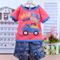 Boy Spring / Autumn O-Neck Free shipping 2013 New 100% cotton kids clothing set, T-shirt+pant, The children set, available Boys of summer clothing